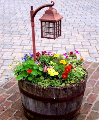 Aranjament exterior cu flori si felinar