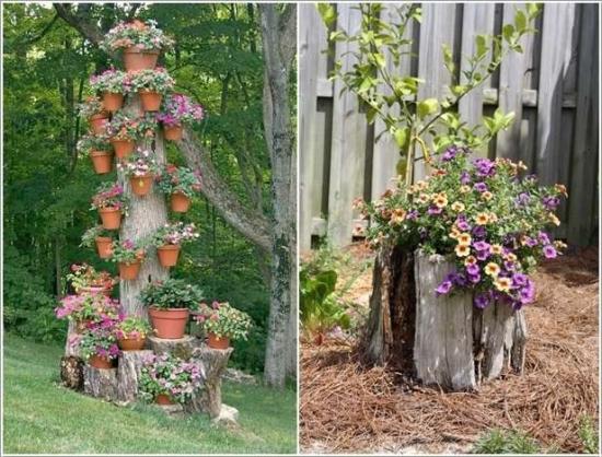 Idee transformare busteni ca decoratiuni gradina
