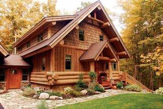 Cabana din lemn rotund si sindrila din lemn