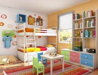 Paturi supraetajate si comoda cu sertare colorate