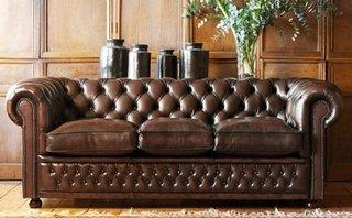 Canapea Chesterfield din piele naturala maro
