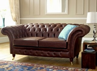 Canapea Chesterfield piele 2 perne