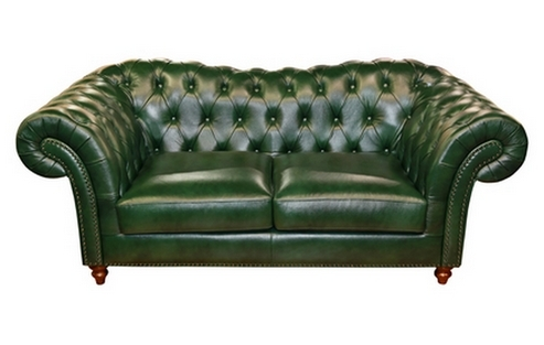 Canapea Chesterfield piele naturala verde cu 2 locuri