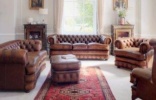Set de canapele si fotolii din piele naturala maro Chesterfield