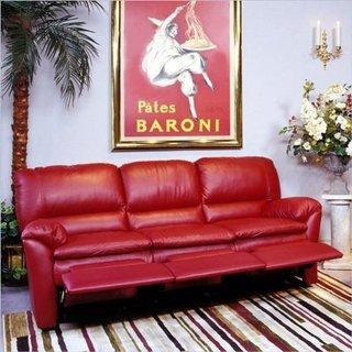 Canapea din piele rosie cu sistem recliner si suport pentru picioare