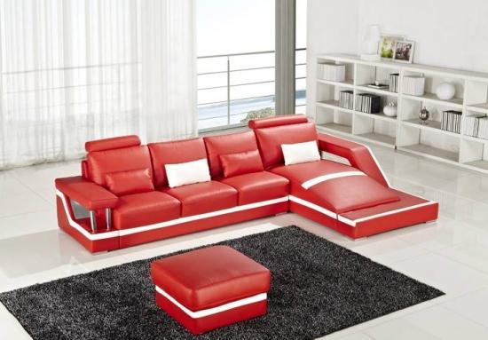 Canapea din piele rosie moderna cu sezlong stanga