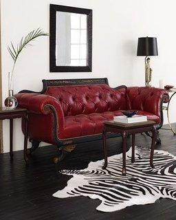 Canapea fixa doua locuri din piele rosie tapitata