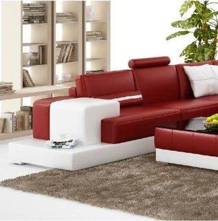 Canapea piele rosie cu perne albe