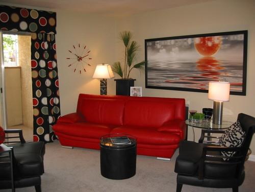 Model modern de canapea rosie din piele ecologica