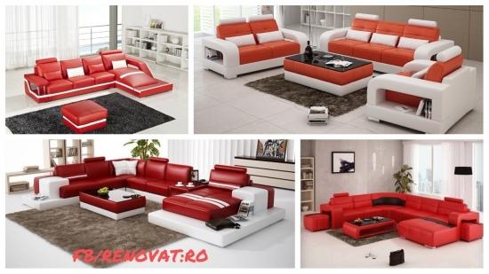 Canapele din piele de culoare rosie | Galerie foto cu modele inedite