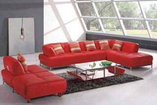 Set canapea si fotoli din piele rosie finisaj mat