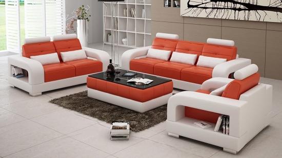 Set canapele si fotoli fixe din piele in doua culori