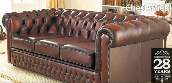 Canapea Chesterfield din piele naturala maro inchis