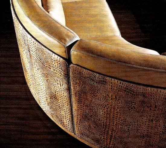 Canapea din piele mari cu spatar din piele imitatie de reptila