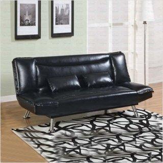 Canapea fixa din piele lucioasa neagra