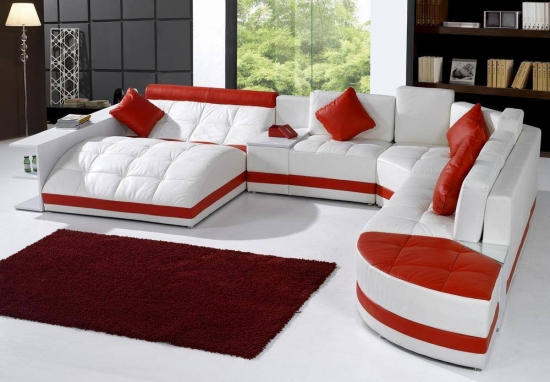 Canapea moderna piele alba si rosie in forma de U