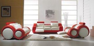 Canapea si fotolii din piele cu design modern in combinatia de alb cu rosu