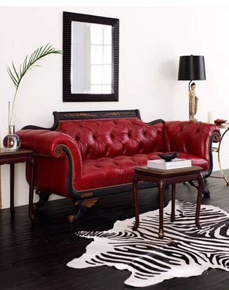 Canapea stil baroc din piele naturala de culoare visinie