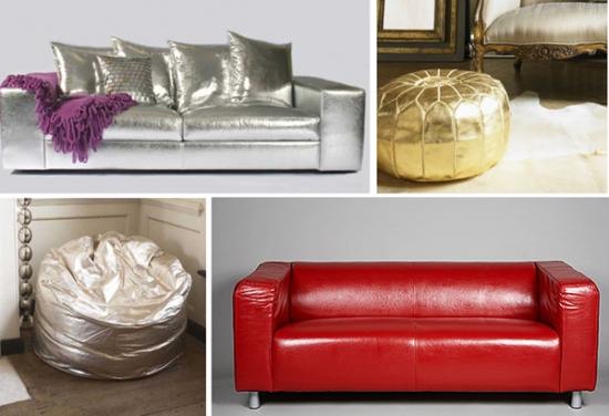 Mobilier din piele in culori indraznete, auriu, argintiu, rosu