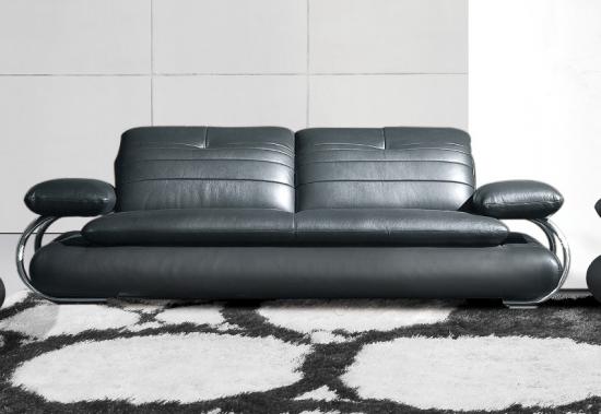 Canapea din piele neagra cu brate din inox
