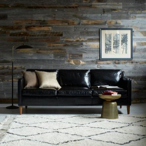 Canapea simpla si eleganta din piele neagra
