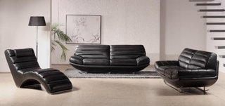 Set de canapea de doua locuri cu fotolii din piele neagra