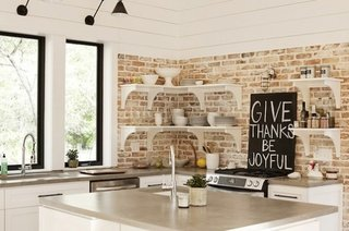 Pereti din caramida in bucatarie moderna