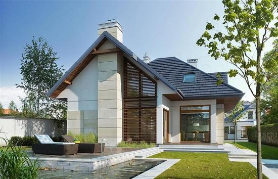 Casa moderna cu grilaj din lemn pe fatada