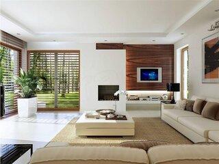 Living modern cu crem si accente din lemn