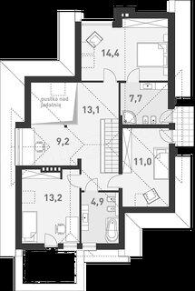 Plan mansarda cu 3 dormitoare si 2 bai 73 mp