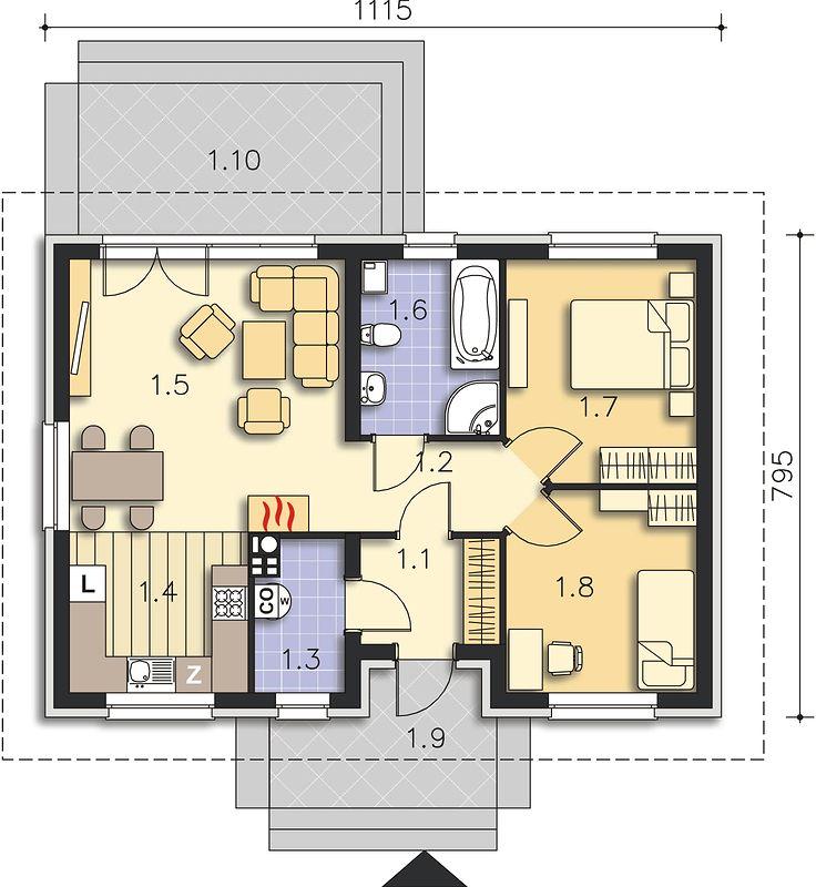 Plan casa doar cu parter 68 mp utili