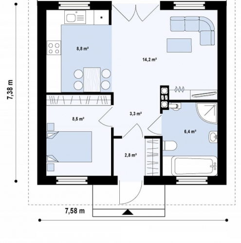 Plan parter casa mica 44 mp cu 1 dormitor baie bucatarie si living