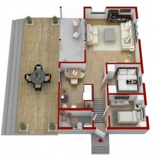 Plan 3 D dispunere camere interior casa 57 mp