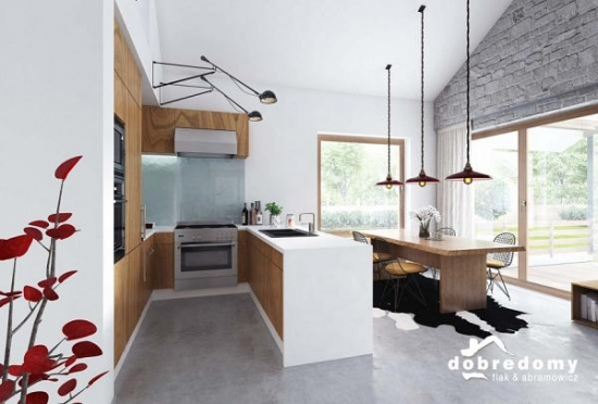 Interior bucatarie open space minimalista