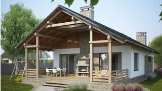 Proiect de casa frumoasa placata cu piatra