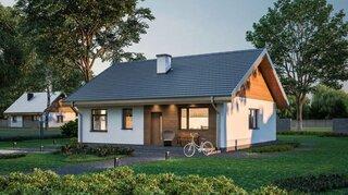 Casa simpla cu mansarda din lemn