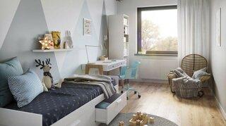 Dormitor mic amenajat cu pat simplu de 1 persoana