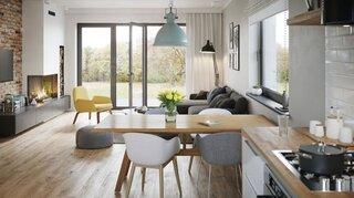Idee amenajare living open space cu bucatarie alb lemn si gri