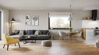 Idee amenajare living open space cu bucatarie mobila alb cu lemn
