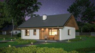 Intrare principala casa cu mansarda din lemn