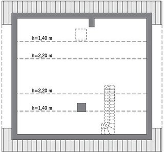 Plan mansarda open space cu inaltime maxima 2.20 metri