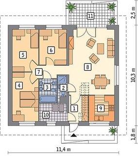 Plan parter 3 dormitoare living cu bucatarie si 2 bai