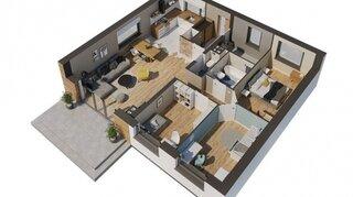Randare 3D plan parter cu 3 dormitoare