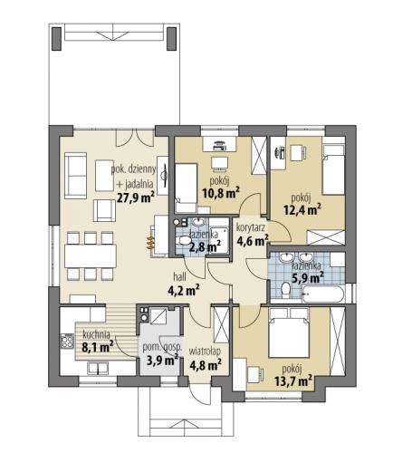 Plan parter casa cu 3 dormitoare living bucatarie si 2 bai