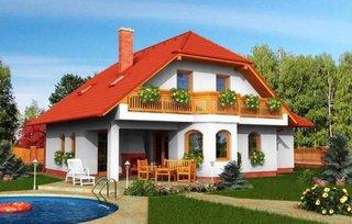 Model de casa construita pe structura de lemn