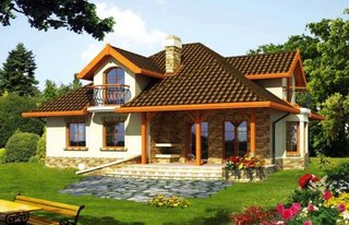 Model de casa cu etaj si balcoane