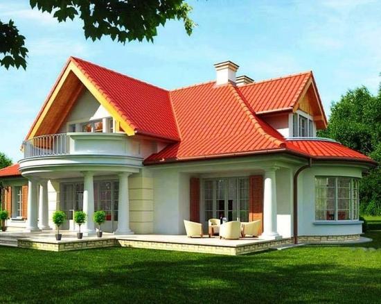 Proiect de casa cu mansarda si fatada alba