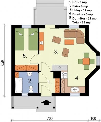 Plan casa mica suprafata utila 38 mp