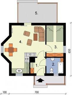 Plan casa parter cu 1 dormitor 38 mp