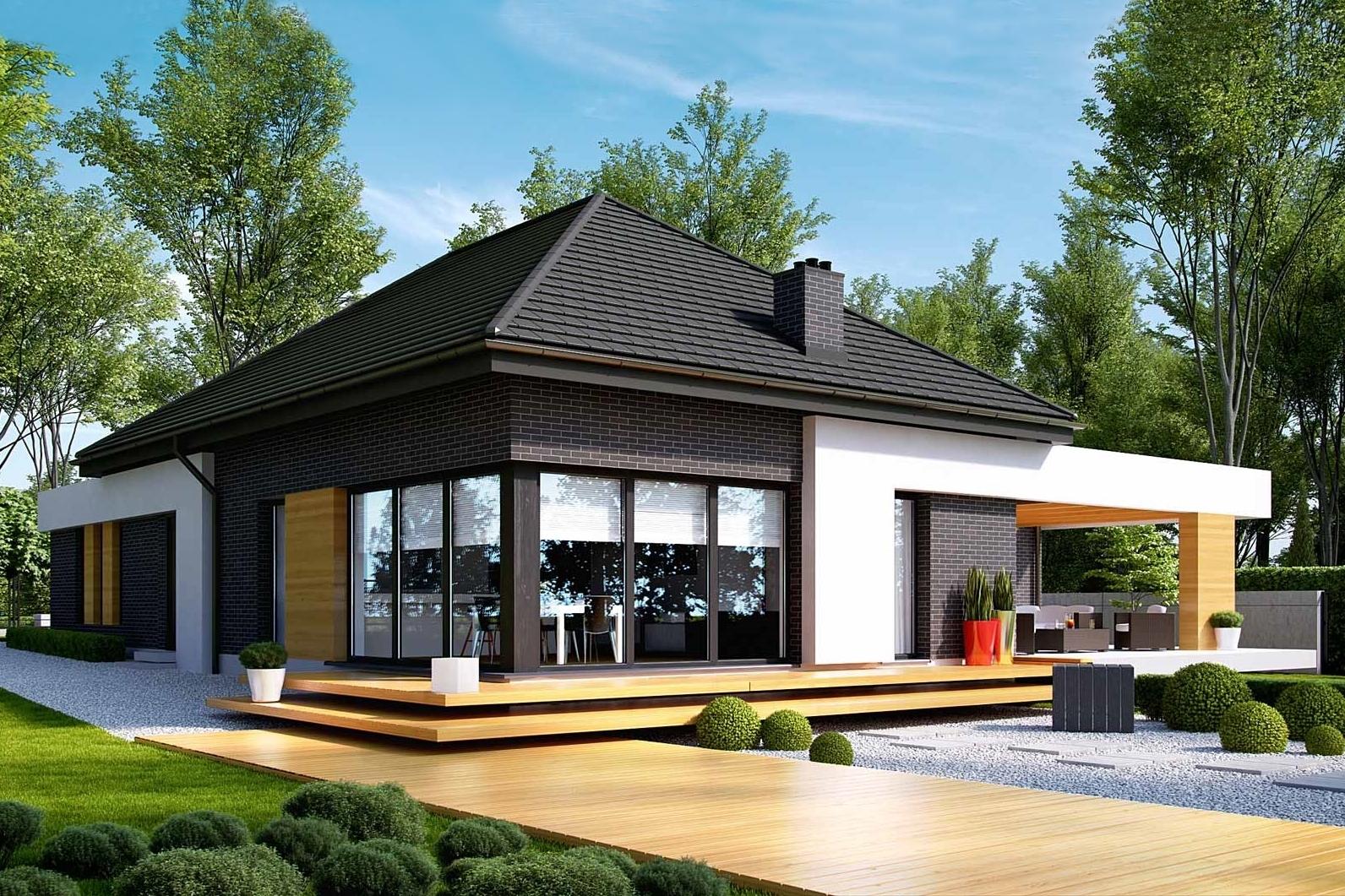 Casa moderna contemporana cu fatada contrastanta